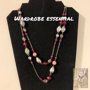 Jewelry - Silver tone and pink beaded necklace